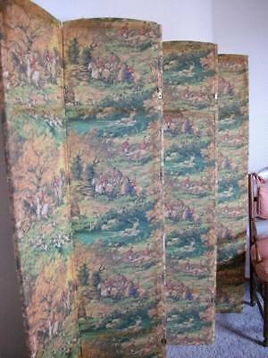 "Gorgeous French Antique Fabric Six Panel Folding Screen ""The Chase"""