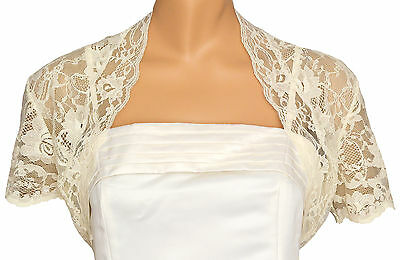 Ivory Lace Short Sleeve Bolero Shrug Sizes 12