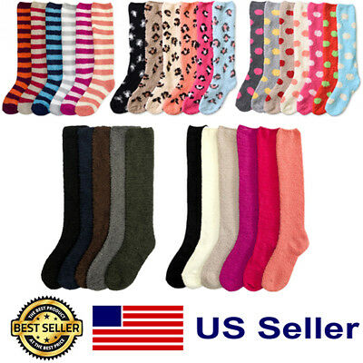 6 Pair Women Girl Knee High Pattern Plain Cozy Fuzzy Slipper Long Winter Socks