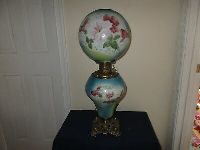 Antique Glass Flower Decorated Blue Yellow  GWTW Parlor Oil Electric Lamp Miller