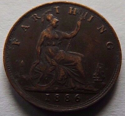 1886 Great Britain Farthing! Vf! Queen Victoria On Coin!