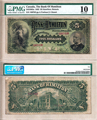 The Bank of Hamilton 1892 $5 Issued Chartered Bank Note. PMG VG10