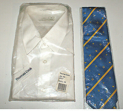 vintage, neuf , THOMAS COOK Embroidered on short sleeve shirt & tie PILOTE