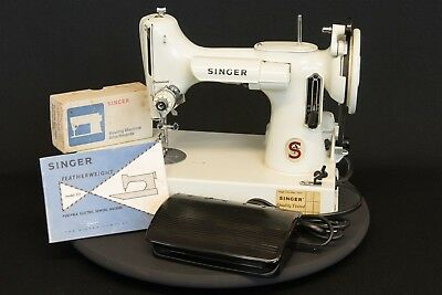 Vintage Singer 221 K white featherweight sewing machine in case with accessories