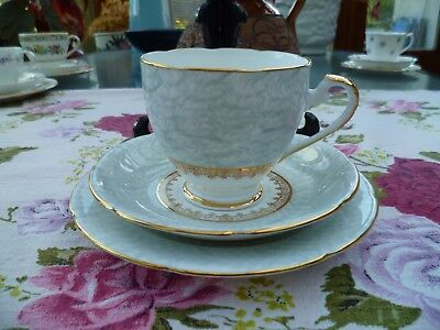 Lovely Dakin English China Trio Tea Cup Saucer Plate Blue Grey Gilded