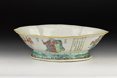 Antique 19th Century Chinese Famille Rose Footed Dish w/ Characters & Writing