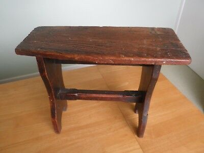 Antique small pine stool bench table