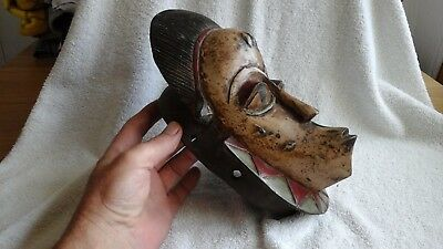 Lovely Antique Old Tribal Mask Carved With Original Paint