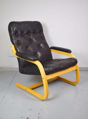 Mid Century Retro Danish Black Leather & Beech Bentwood Lounge Armchair 1970s