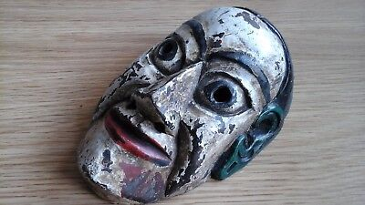Lovely Antique Old Tribal Mask Carved With Original Paint And Wax Seal