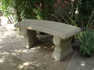 Stone Garden Curved Scroll Leg Bench / Seat Ornament Collection Only