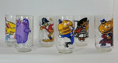 VINTAGE SET OF SIX 1977  McDONALD'S McDONALDLAND ACTION SERIES GLASSES