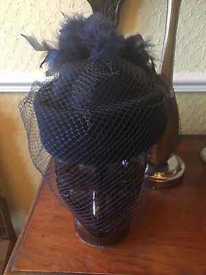 Vintage Navy Blue Hat With Veil Net & Feathers Wedding