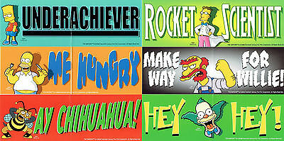 The Simpsons - 6 Bumper Stickers - BRAND NEW Homer Bart Simpson, Krusty, etc.