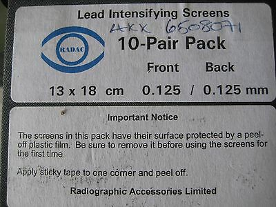 Lead intensifying screens . pack of 10 pairs . manufactured by RADAC. X-Ray