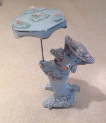 Vintage Blue Spaghetti Poodle Dog with Umbrella or Parasol
