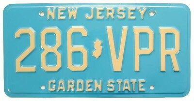 Vintage New Jersey 1983 License Plate, 286 VPR, Buff on Blue Base, High Quality