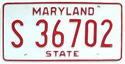 Maryland 1980s State Government License Plate