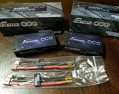 2x Gens Ace 5000mah 2s 7.4 Shorty LiPo Battery 60C LOSI 22 B6 B5 B44 REEDY ORION
