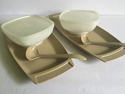 Vintage Tupperware  Relish & Dip Bowl with Lid, Tray & Spoons Set Of 2