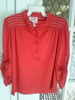 Vintage 1980s Brand New ruched and button sleeved 3/4 sleeved shirt  size 10