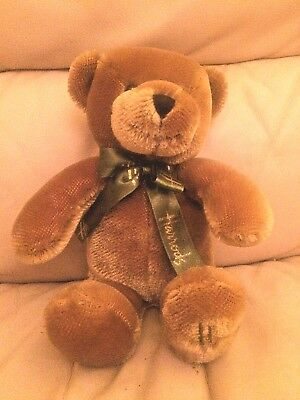 """Harrods Original Bear With Green Branded Ribbon , 11"""" From 2002"""