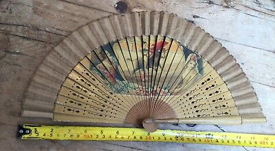 ANTIQUE PIERCED NATURAL WOOD & LINEN with SPANISH SCENE COLLECTABLE FAN