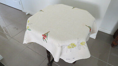 """Traced Linen Semco? Design No. 502 Table Cloth """"Gumnuts & Wattle"""" Partly Worked"""