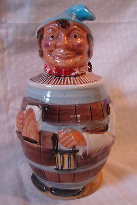 Rare German Ceramic Beer Barrel Man 28 Ounce Pitcher w/ Stopper Head Spout