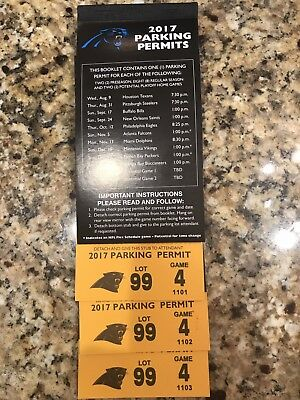 Carolina Panthers 2017 Book Of 10 Parking Passes For Lot 99, On College St.