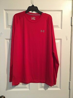 Under Armour Men' Loose Fit  UA Tech Long Sleeve Shirt  Red Size XXL