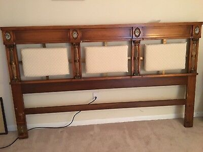 solid wood KING headboard with 3 fabric head cushions  and vintage detail