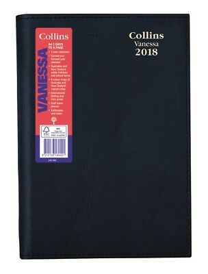 2018 Collins Vanessa Diary Diaries A4 2 Day To Page - Black
