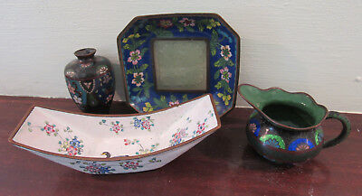 Lot 4 made in China antique vtg Chinese Cloisonne dishes pitcher vase jade