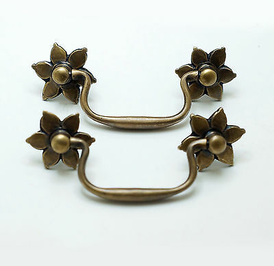 "4.60"" Set of 2 pcs Vintage Flowers Handle Solid Brass Cabinet Drawer Handle Pull"