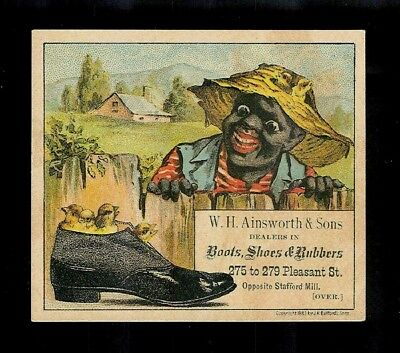 Black Man Finds Chicks Nesting In A Shoe-Victorian Black Americana Trade Card