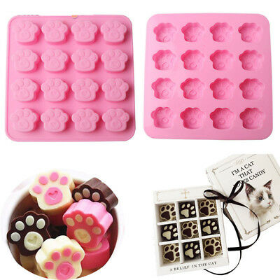 Silicone Cat Dog Paw Print Cookie Candy Chocolate Ice Cube Cake Soap Baking Mold