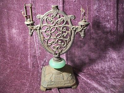 Antique Cast Iron Lamp Light Base Lighting parts repair restore jade marble OLD