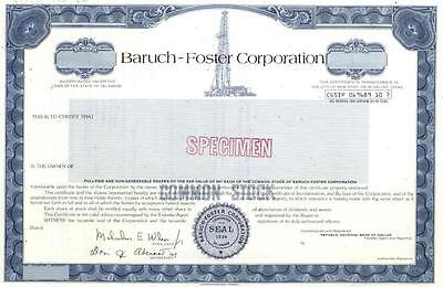 19__ Baruch-Foster Corp Specimen Stock Certificate