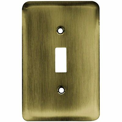 Liberty Stamped Round Decorative Antique Brass Finish Single Metal Switch Plate