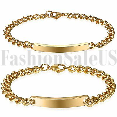 2pcs Stainless Steel His and Hers Lovers Matching Couple Bracelet New Engravable