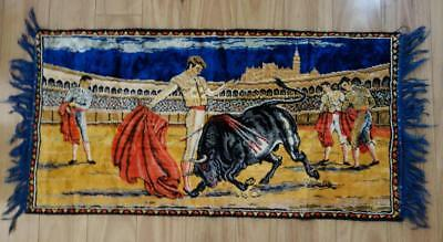 Bullfighters Italian Velvet Vintage Floor Rug Wall Hanging Home Decor