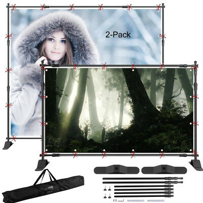 2X 8'x8' Telescopic Backdrop Stand Adjustable Banner Display Trade Show Wall J2