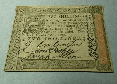 1773 Hall & Sellers Two Shillings Colonial Currency****