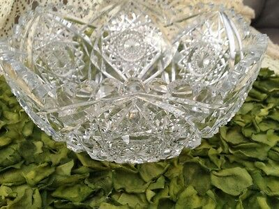 Great Grandmothers Antique Cut Glass Bowl Large Outstanding Statement Piece