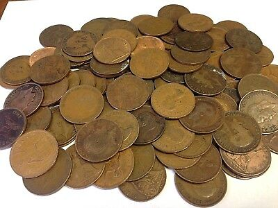 100 x Vintage British Large One Penny, UK copper Pennies Victoria to QEII lot#44