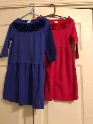 Lot Of 2 Crewcuts Girls Cotton Dresses Size 5, Red&Blue