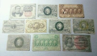 10 Scarce Old Fractional Currency Notes Lot****