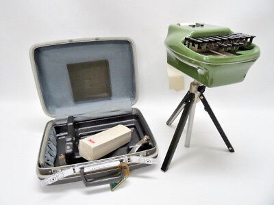 Stenograph Big Shot Shorthand Machine With Case, Paper And Tripod - Vintage