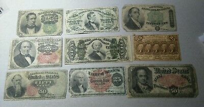 9 Scarce Old Fractional Currency Notes Lot****
